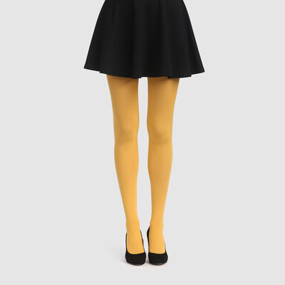 Golden yellow opaque velvet tights 50D Dim Style, , DIM