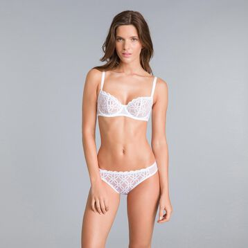 Chic Line embroidered white demi-cup bra - DIM