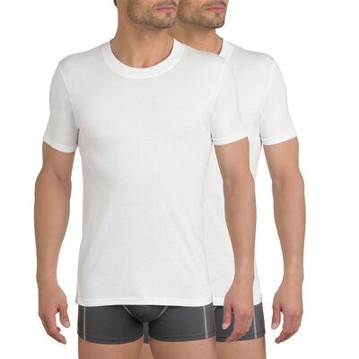 Lot de 3 t-shirts blancs col rond 100% coton EcoDIM, , DIM