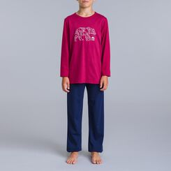 DIM Northern 2-piece sailor blue pyjama pants and burgundy T-shirt - DIM