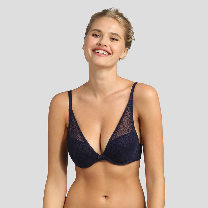 Velvet infinite blue push-up triangle bra Dim Sublim, , DIM