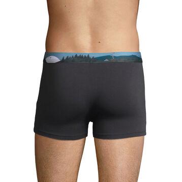 Stretch cotton trunks with printed waistband Granite Grey, , DIM