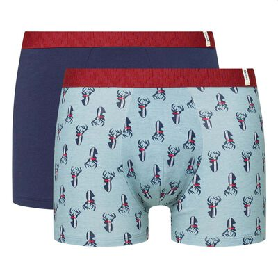 Dim Gift Pack pack of 2 stretch cotton trunks in blue with deer print, , DIM