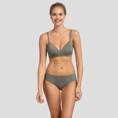 Mottled grey non-wired triangle bra Invisifree, , DIM