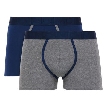Lot de 2 boxers gris chiné et bleu marin Mix & Fancy-DIM