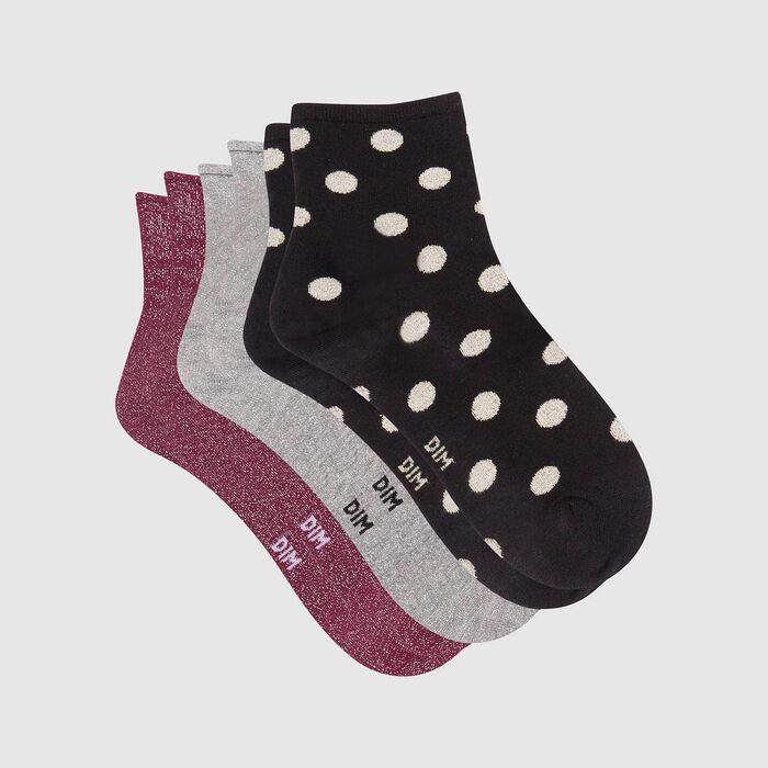 Lot de 3 paires de socquettes lurex Noir Gris Bordeaux pack cadeau Dim, , DIM