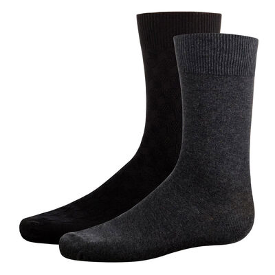 2 pack Black and Grey men's calf socks Cotton Style, , DIM