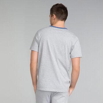 T-shirt pyjama gris chiné et détail bleu indigo - Essential, , DIM