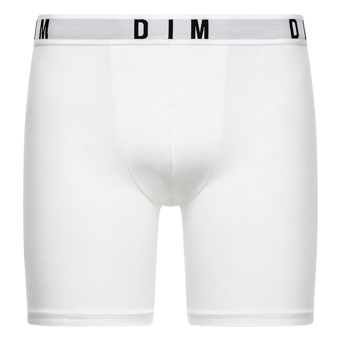 DIM Originals men's modal cotton long boxers in white, , DIM