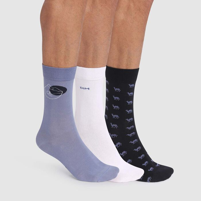 Cotton Style 3 pack men's socks in blue with desert print, , DIM