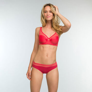 Casual Red Full Cup Underwired Bra Generous, , DIM