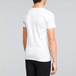 White DIM Boy pure cotton V-neck short sleeved T-shirt - DIM