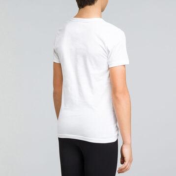 Tee-shirt manches courtes blanc col V DYNAMIC Boy-DIM