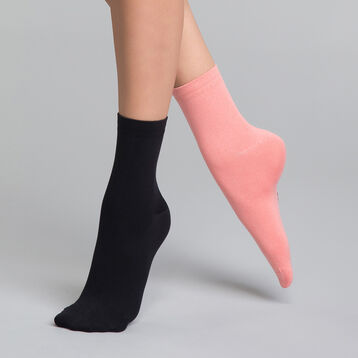 2 pack black and mottled pink socks - Skin, , DIM