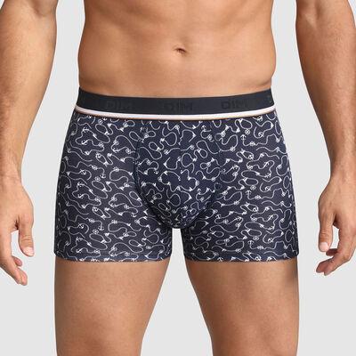 Boxer homme en coton stretch imprimé régate Bleu Marine Dim Fancy, , DIM