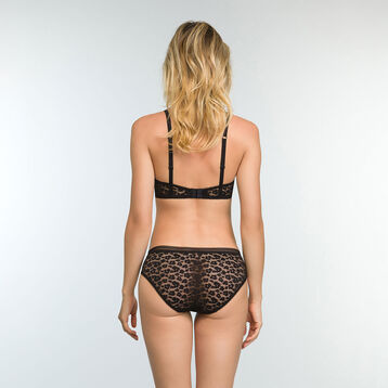 Black laced and printed brief Leopard Line, , DIM
