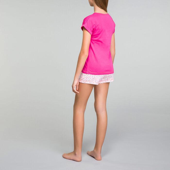 Intense pink pyjama set wit shorts Dim Girl - Nuit Cool, , DIM