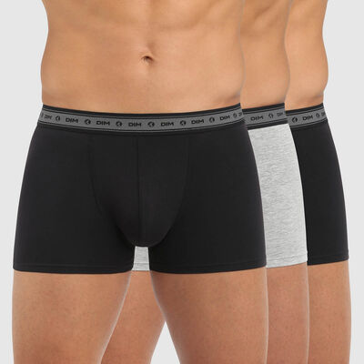 Green by Dim pack of 3 men's organic stretch cotton trunks in black and pearl grey, , DIM