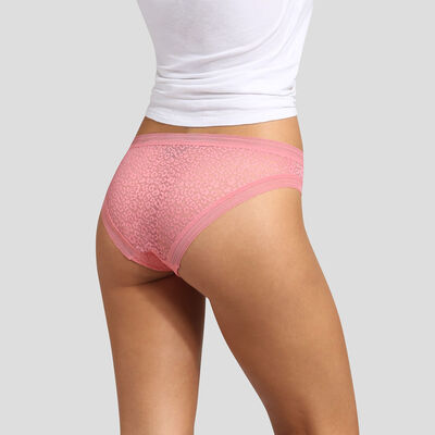 Coral pink microfiber brief with leopard print lace Dim Dotty Mesh Panty Box, , DIM