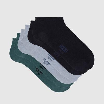 Lot de 3 paires de socquettes homme coton Bleu Vert Basic Coton, , DIM