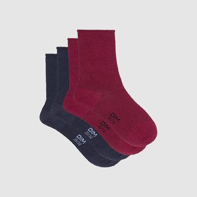Lot de 2 paires de chaussettes femme bordeaux bleu marine Dim Modal, , DIM