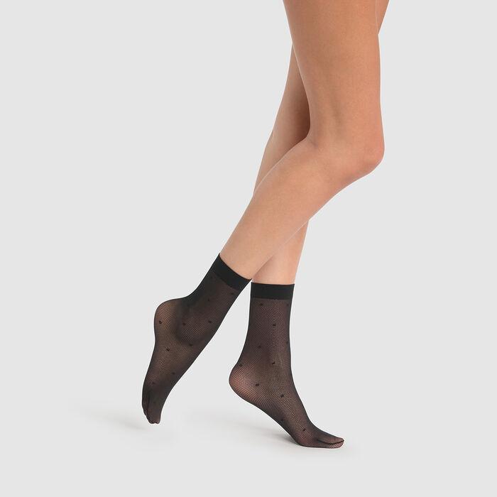 Dim Style 27D Black fancy socks in mesh printed satin, , DIM