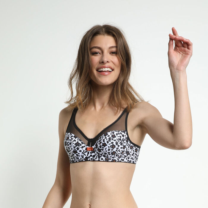 Dim Generous Underwired bra with black garden print Generous Dim, , DIM