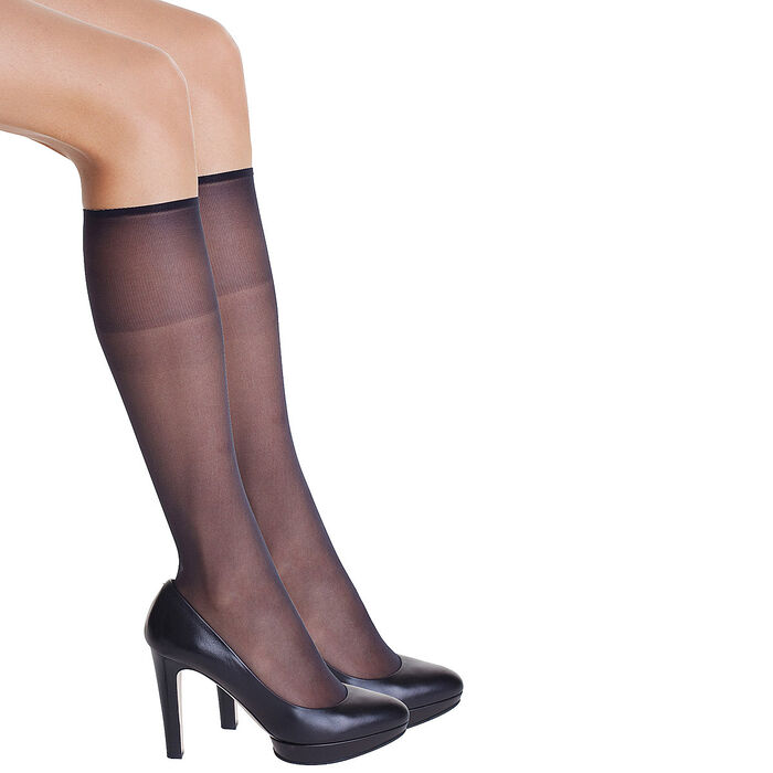 Pack of 2 black Diam's Voile Galbé 19 sheer shaping knee highs, , DIM