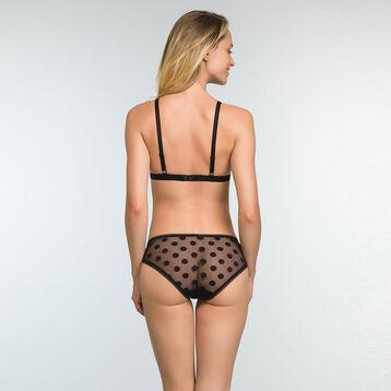 Soutien-gorge triangle noir à pois et dentelle pour femme Dotty Line, , DIM