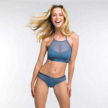 Bralette in antique blue lace - Dim Daily Glam Trendy Sexy, , DIM