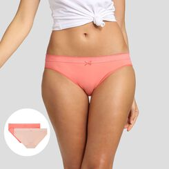 2 pack briefs in nude pink and coral pink Les Pockets Microfibre Dim, , DIM