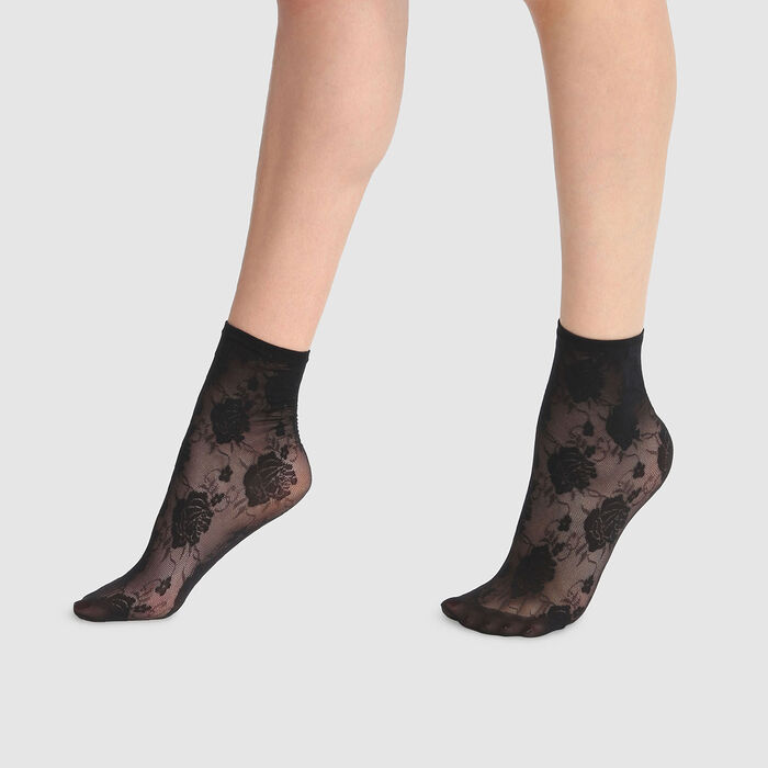 Dim Style 33D fancy black lace ankle socks with rose print, , DIM