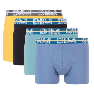 Pack of 4 cotton stretch trunks with graphic belt Dim Powerful, , DIM