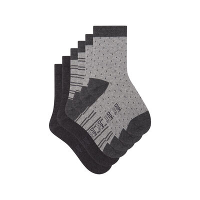 Pack of 3 pairs of socks with polka dots and lines Grey Kids Cotton Style, , DIM
