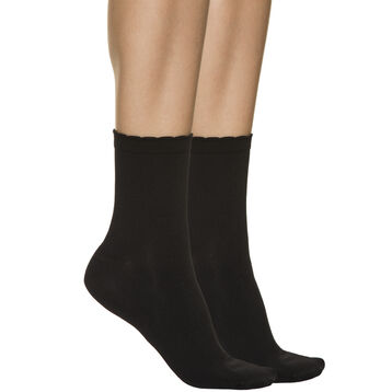 Pack of 2 pairs of women's second skin ankle socks in black, , DIM