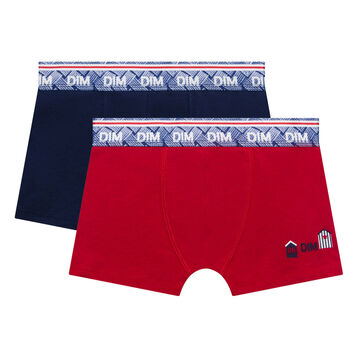 2 pack blue and red trunks for Boy - Deauville, , DIM
