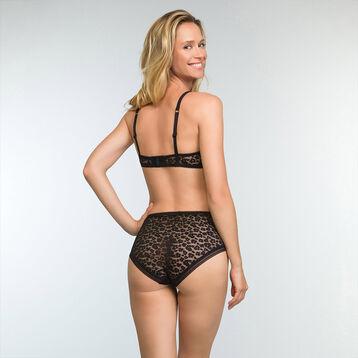 Culotte taille haute noire en dentelle pour femme Leopard Line, , DIM