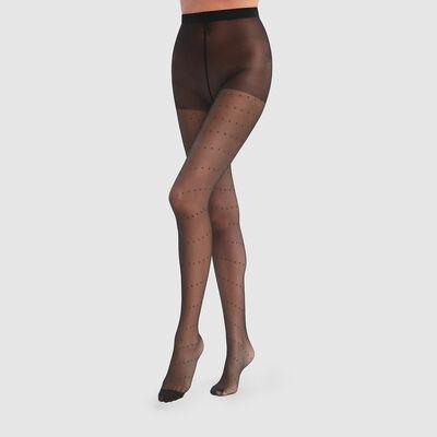 Dim Style 18D Black satin lurex gold tights, , DIM