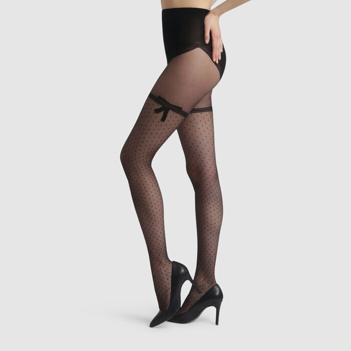 Black Sexy Noeud Dentelle 20 transparent tights with bow, , DIM