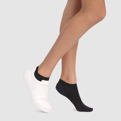Dim Opaque black breathable cotton socks for sneakers, , DIM
