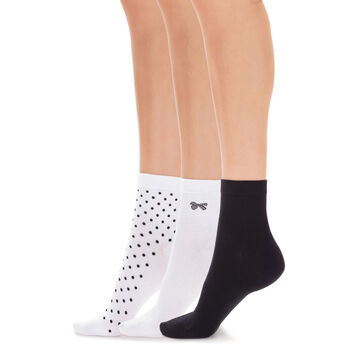 Pack of 3 pairs of polka dot sock liners for women, , DIM