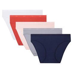 5 pack multi-colored briefs in cotton stretch Les Pockets EcoDim, , DIM