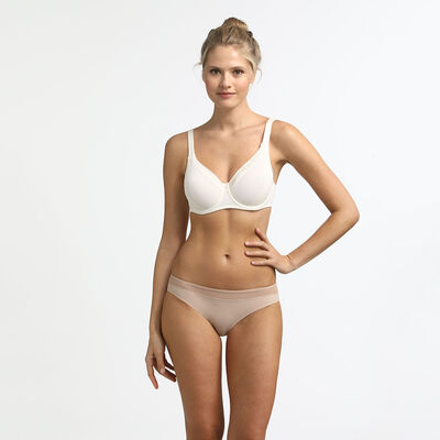 Generous Invisible Dim underwire push-up bra with mother-of-pearl, , DIM