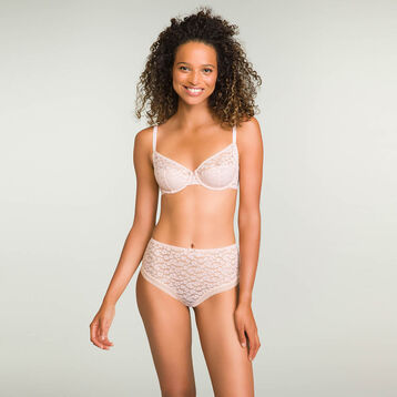 Nude Pink laced and printed high waist brief Leopard Line, , DIM