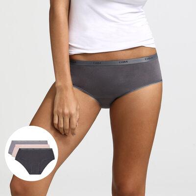 Комплект из 3 трусиков-боксеров Les Pockets EcoDIM серо-коричневого, розового и серого цвета, , DIM