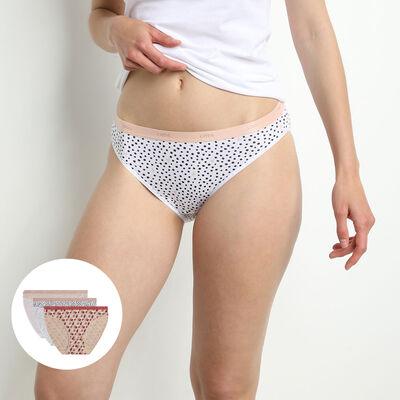 Комплект из 3 женских трусиков-слипов из мягкого хлопка стрейч с графическим принтом Rose Les Pockets, , DIM