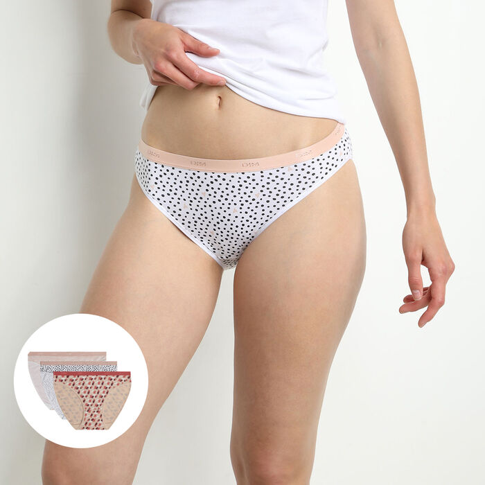 Les Pockets 3 pack of stretch cotton briefs with pink graphic print, , DIM