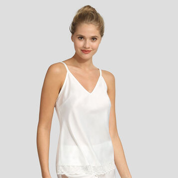 Dim Graphic Wedding English embroidery and satin white camisole, , DIM