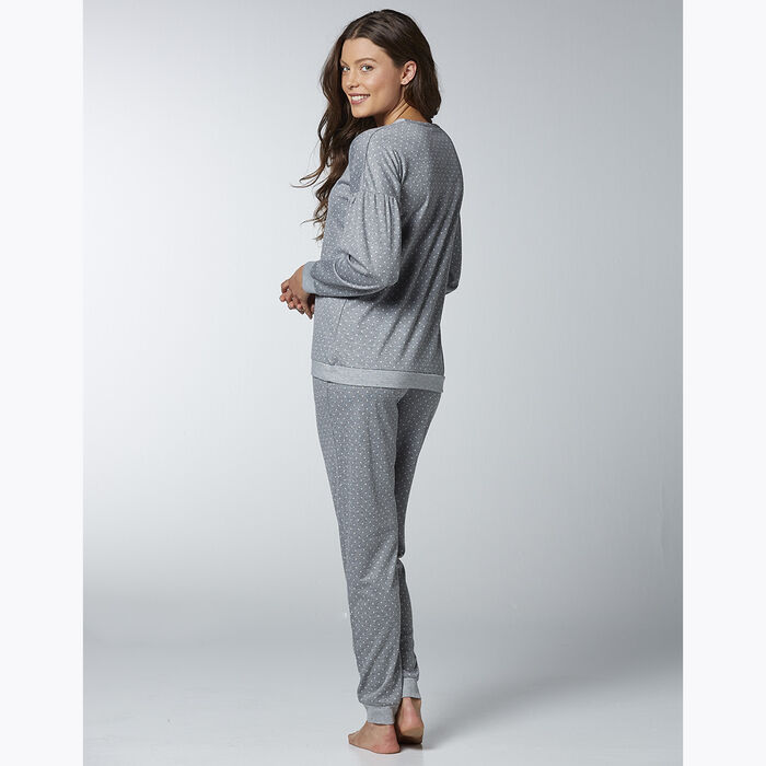 Women's pyjama set Grey with polka dots, , DIM