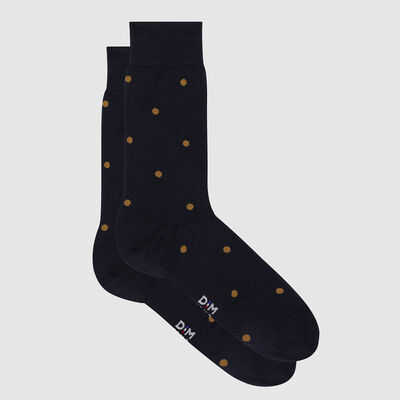 Men's Scottish thread sock with polka dots Yellow Slate Made in France Dim, , DIM